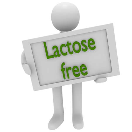 lactose intolerant: 3d man holding a white board with lactose free Stock Photo