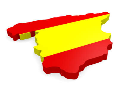 majorca: 3d map of Spain with the Spanish flag on a white background