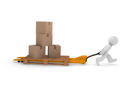 lifting jack: 3d man with stacked cardboard boxes on a lifting cart Stock Photo