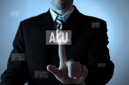 feedstock: Business man pointing on a recycling icon of aluminum