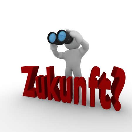 interrogative: 3d man with binoculars looking interrogative for the future, German concept Zukunft? Stock Photo