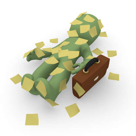 difficult task: Business man with sticky notes, 3d business concept
