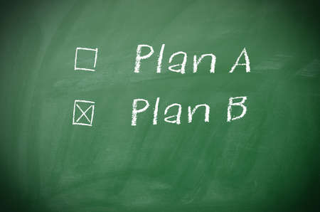 cliche: Texture of a blackboard with Plan A and Plan B