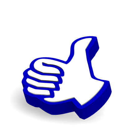 thumps up: 3d thumps up icon on a white background Stock Photo