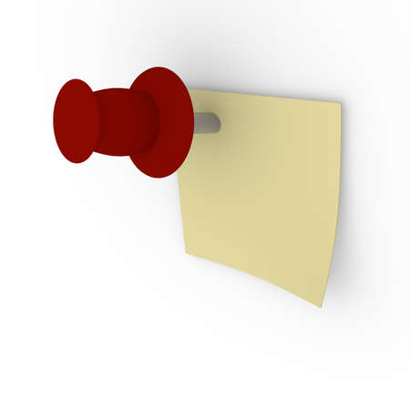white pushpin: Sticky note with a red pushpin on a white board, 3d image