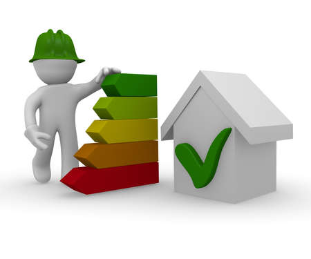 green building: 3d character with energy classification of a house