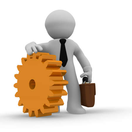 systematic: 3d business character with a golden cogwheel Stock Photo