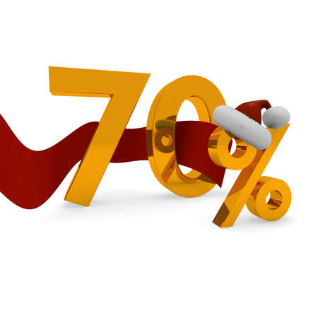 70: 70 percent discount concet with a red ribbon on white Stock Photo