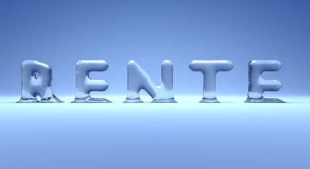 wort: Buchstaben aus Eis bilden das Wort Rente, German icy pension word on a blue background, 3d concept