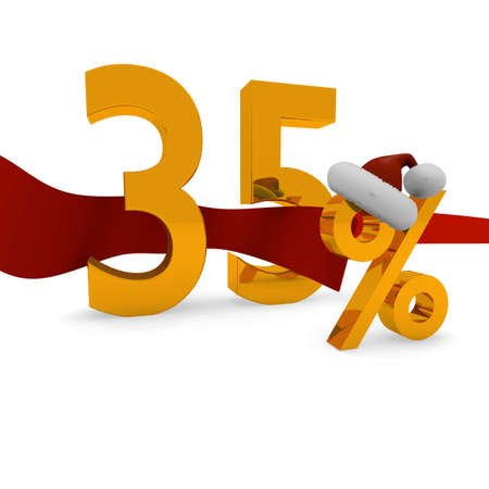 35: 35 percent Christmas discount with a red ribbon Stock Photo
