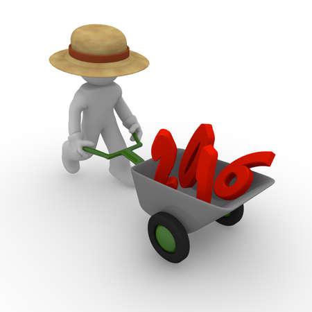 wheel barrow: Gardener with wheel barrow carrying 2016