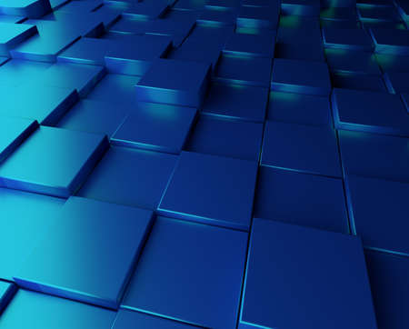 blue metallic background: Abstract blue background with metallic cubes
