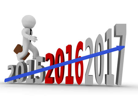future success: Business man on upswing stairs of Years, future success concept Stock Photo