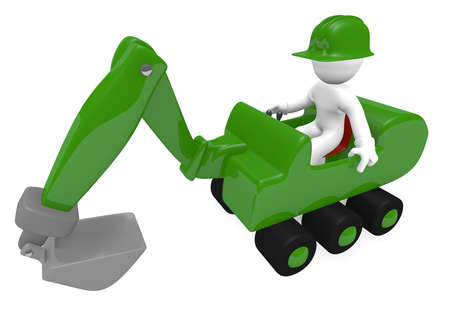 digger: Green digger with construction worker on a white background