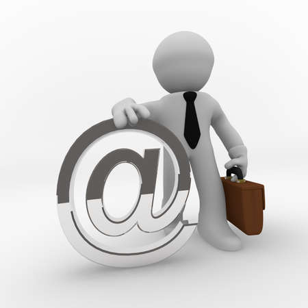 small articles: 3d business man with a web icon in silver Stock Photo