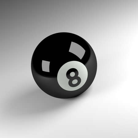 pool ball: 3d render of an eight ball, pool ball sports concept image Stock Photo