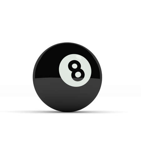 3d ball: Black pool ball on a white background, 3d render
