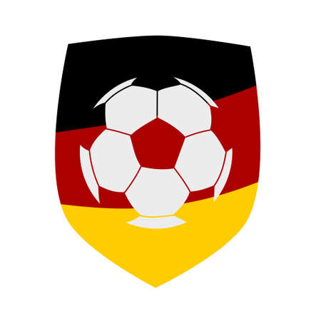 protective shield: German flag protective shield with a soccer ball silhouette
