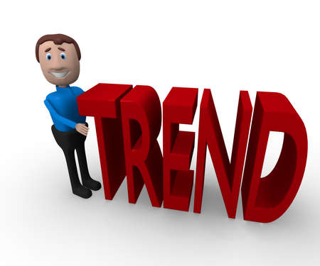 trend: Cheerful cartoon businessman with the word trend on a white background, 3d rendering