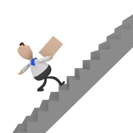upstairs: Businessman running fast upstairs with an envelope in his hand, 3d rendering