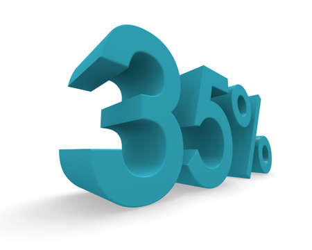 thirty five: Thirty five percent in turquoise on a white background 3d rendering