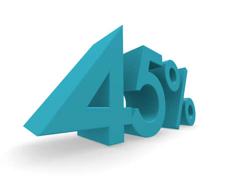 45: 45 percent in turquoise on a white background 3d rendering Stock Photo
