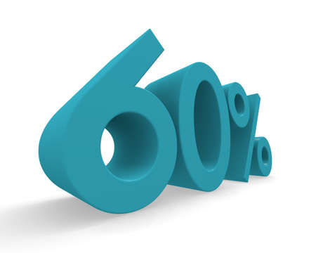 60: 60 percent in turquoise on a white background 3d rendering Stock Photo