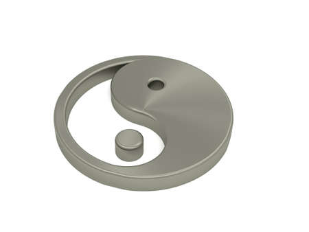 balance symbolic: Yin and Yang steel icon on white, 3d rendering Stock Photo