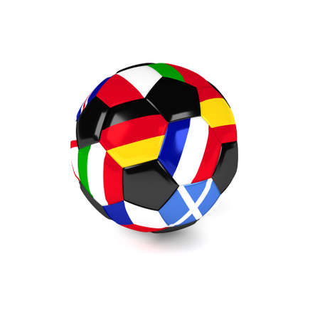 european flags: Soccer ball with European flags on a white background, 3d rendering