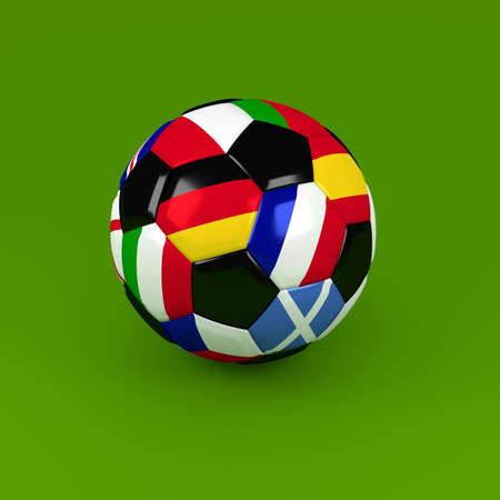 european flags: Soccer ball with European flags on a green background, 3d rendering