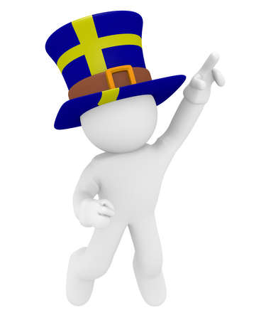 swedish: Swedish fan jumping high with the flag of Sweden on his hat 3d rendering