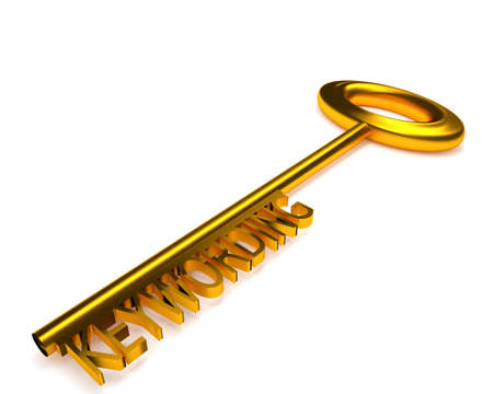 earned: Golden key to success with the word keywording, 3d rendering concept