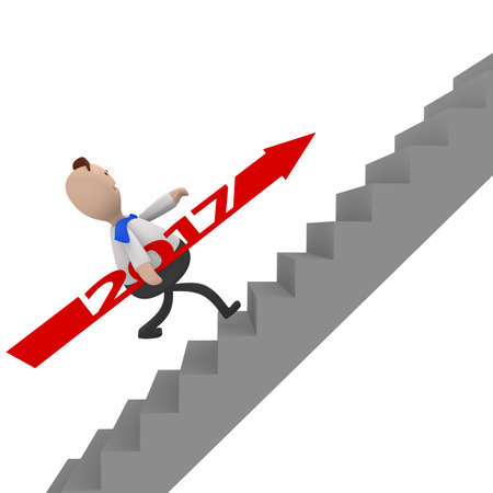 Businessman with a red 2017 arrow running upstairs, 3d rendering