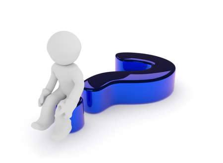 back problem: Small character sitting on a glossy blue question mark on a white background, 3d render