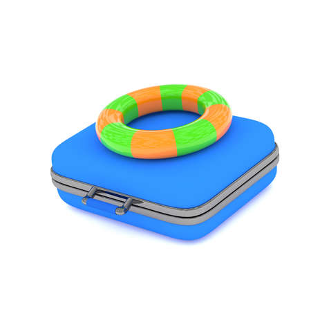 swimming belt: Blue luggage with a colorful floating ring on a white background, 3d rendering Stock Photo