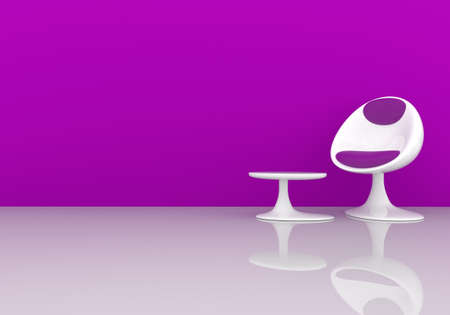 stylish chair: Stylish chair on a purple wall with space for text, 3d rendering