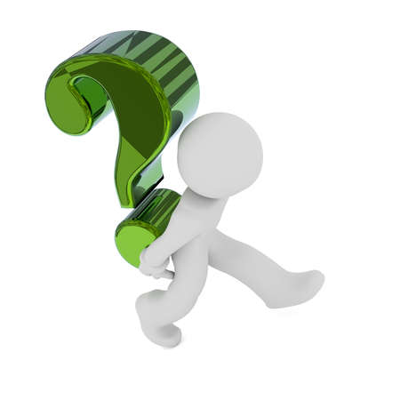 questionmark: Small character carry  a big green Question mark, 3d rendering