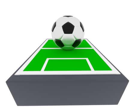 smart goals: Soccer field with a big soccer ball, 3d rendering