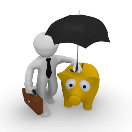 Business man protecting his piggy bank with an umbrella, 3d rendering Stock Photo