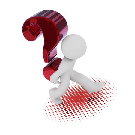 3d rendering of a character with a big red question mark Stock Photo