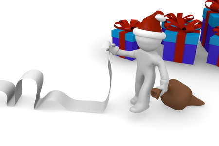 Santa with a long wish list and blue gift boxes, 3d rendering