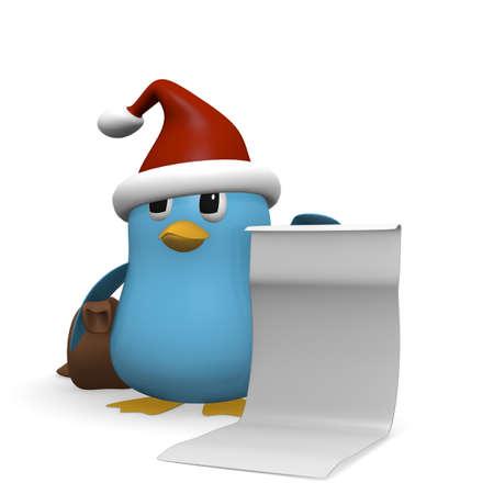wishlist: Blue bird holding a wishlist, 3d rendering