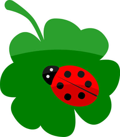 Vector illustration of a lady bug on a clover, success concept