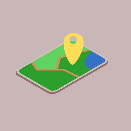 Mobile device with a map vector icon illustration