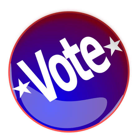 vote button: Illustration of a glossy Vote button in blue and red on a white background Stock Photo