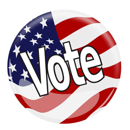 vote button: Illustration of a glossy vote button with the flag of the United States of America