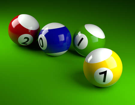 Pool balls on green with 2017,New Year concept 3d rendering