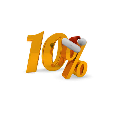 10 percent discount concept with hat of Santa, 3d rendering