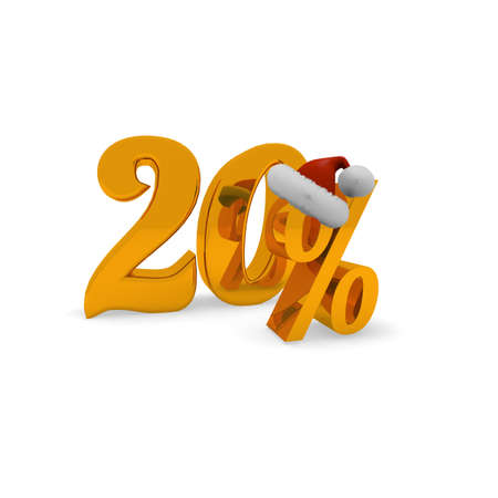 20 percent discount concept with hat of Santa, 3d rendering