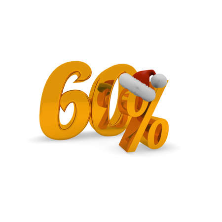 60 percent discount concept with hat of Santa, 3d rendering